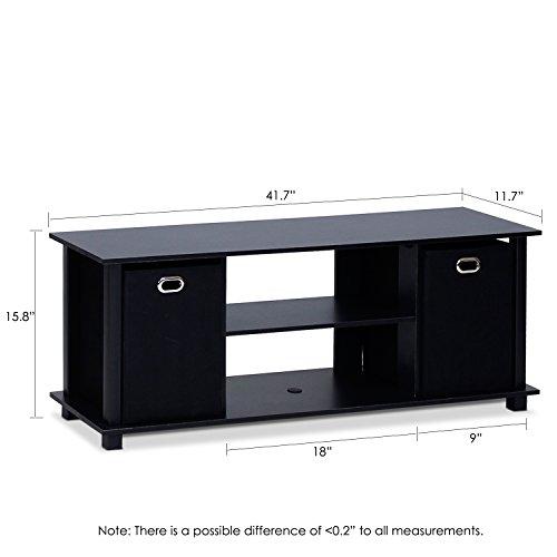 Furinno 13054BK/BK Econ Entertainment Center with Storage Bins, Black