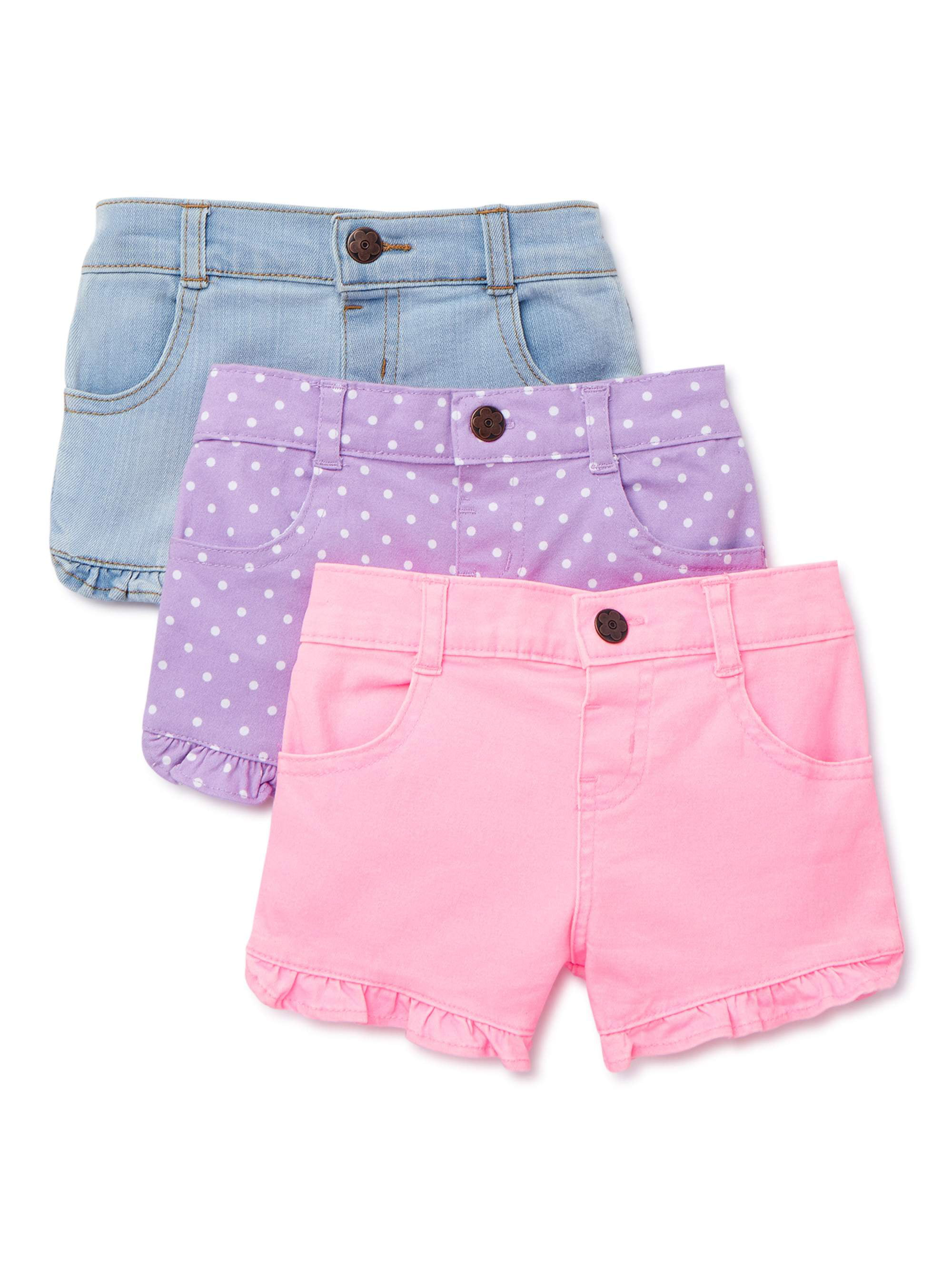 Carters Baby Girls Sparkle Side Stripe French Terry Shorts Blue 24M