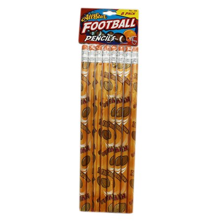 Orange Colored American Football Themed Wooden Pencil Pack (8 Pencils)