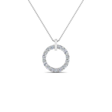Circular Jewelry - Circular Diamond Necklace For Women 0.15 Carat Round Cut In 14K White Gold