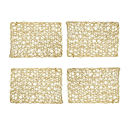 "Holiday Decorative 12""x18"" Rectangle Woven Metallic Foil Shining Placemats,Charger - Set of 4 (Gold)"