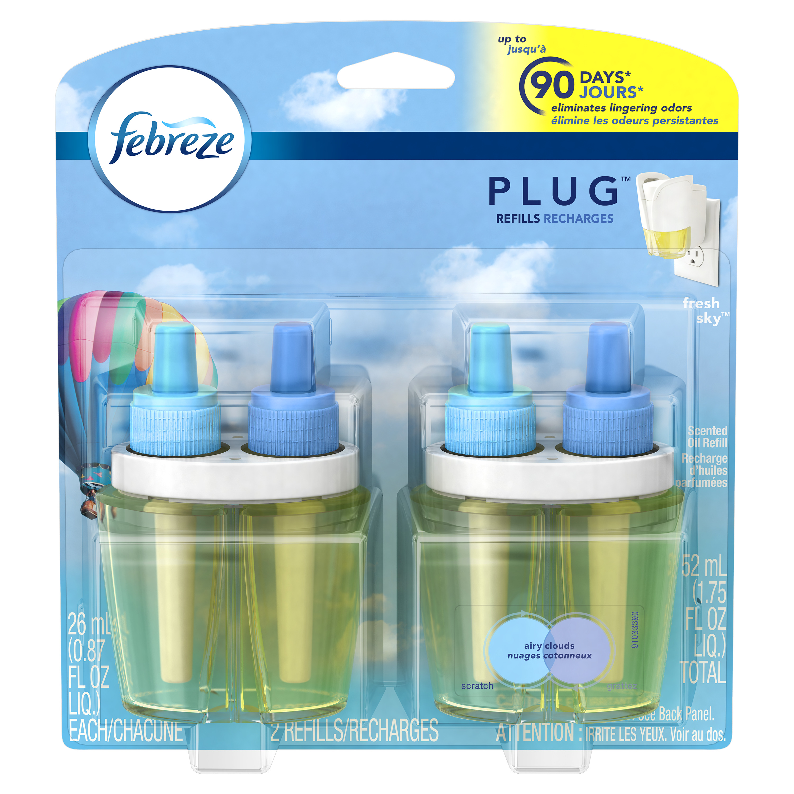 Febreze PLUG Air Freshener Refills Fresh Sky (2 Count, 1.75 oz)
