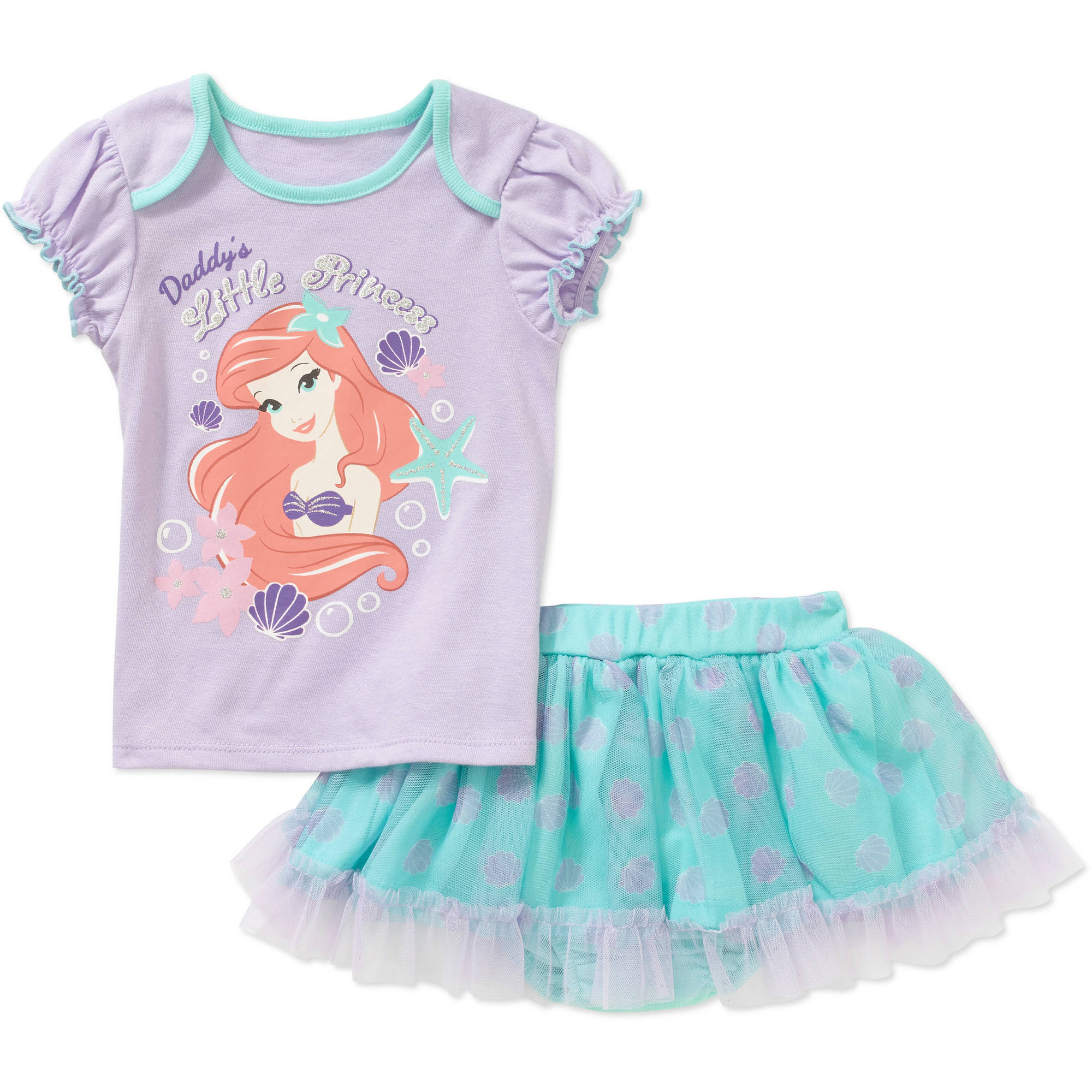 Disney Princess Newborn Baby Girl Tee and Skirted Bloomer Outfit Set