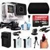 GoPro HERO4 Hero 4 Silver Edition 4K Action Camera Camcorder with 32GB MicroSD Card, Stabilization Hand Grip, 2x Batteries, Home and Car Charger, Medium Case, HDMI, Dust Cleaning Care Kit (CHDHY-401)