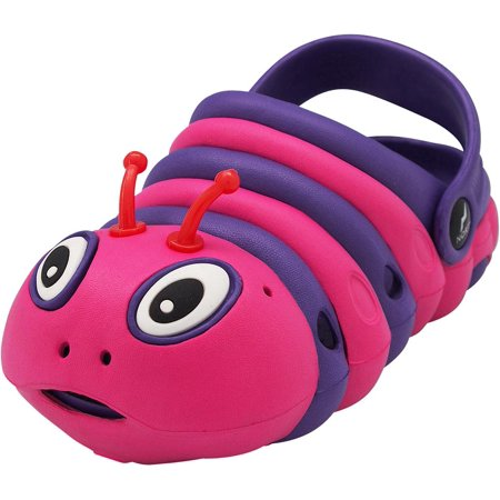 NORTY Toddler Girls Boys Bug Colorful Drainage Clog Sandal Slip On - 4 Colors, 40696 Purple/Fuchsia / 7MUSToddler - Boys Vans Slip Ons