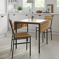 Dorel Living Ramsey 3-Piece Drop-leaf Wood and Metal Table and Chair Set, Natural Wood, Gunmetal Gray