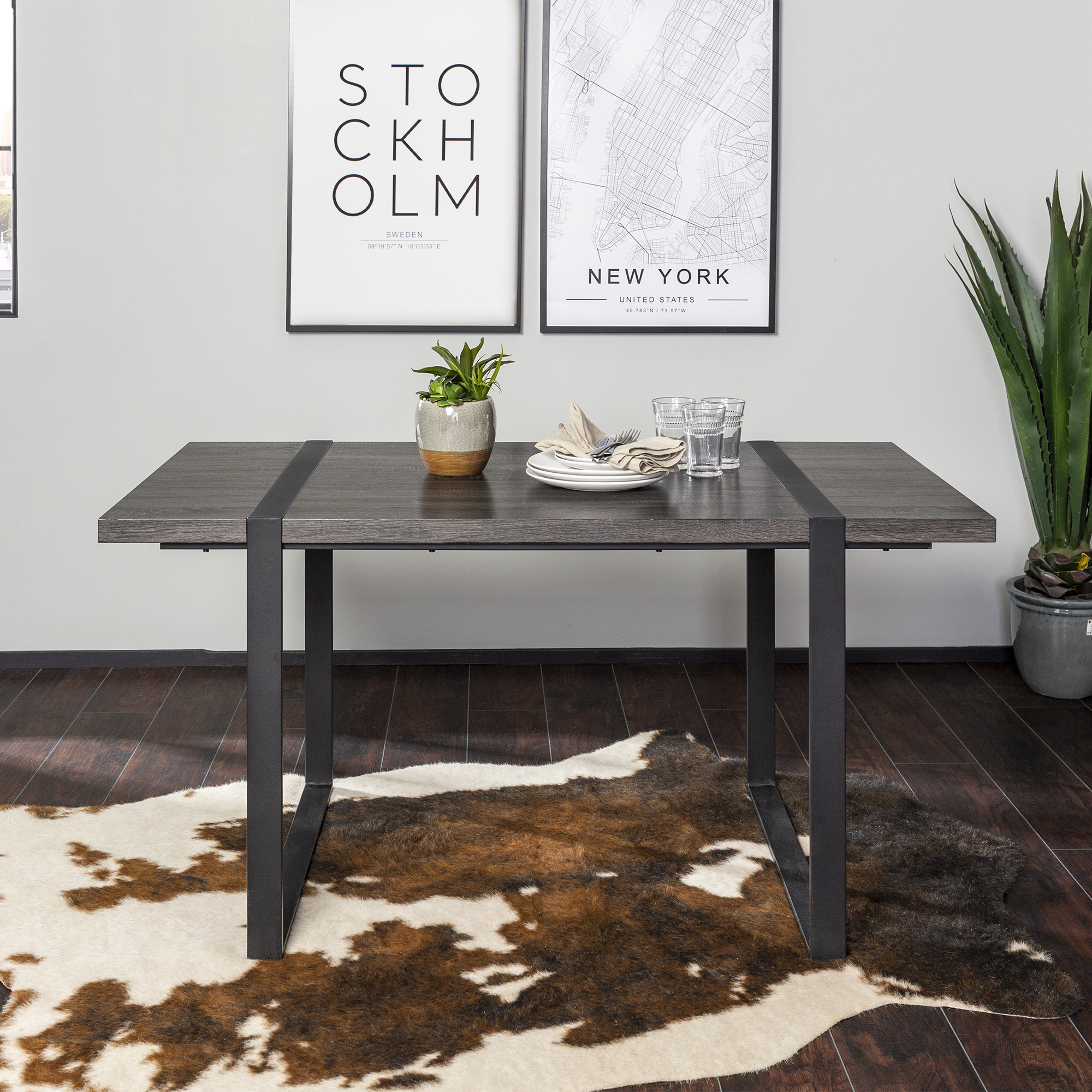 "River Street Designs 60"" Industrial Metal Wrap Leg Wood Dining Table, Multiple Finishes"