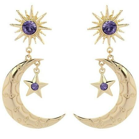 AkoaDa Gold Star and Moon Earrings Purple Crystal Women Elegant Drop Dangle Earrings Gift