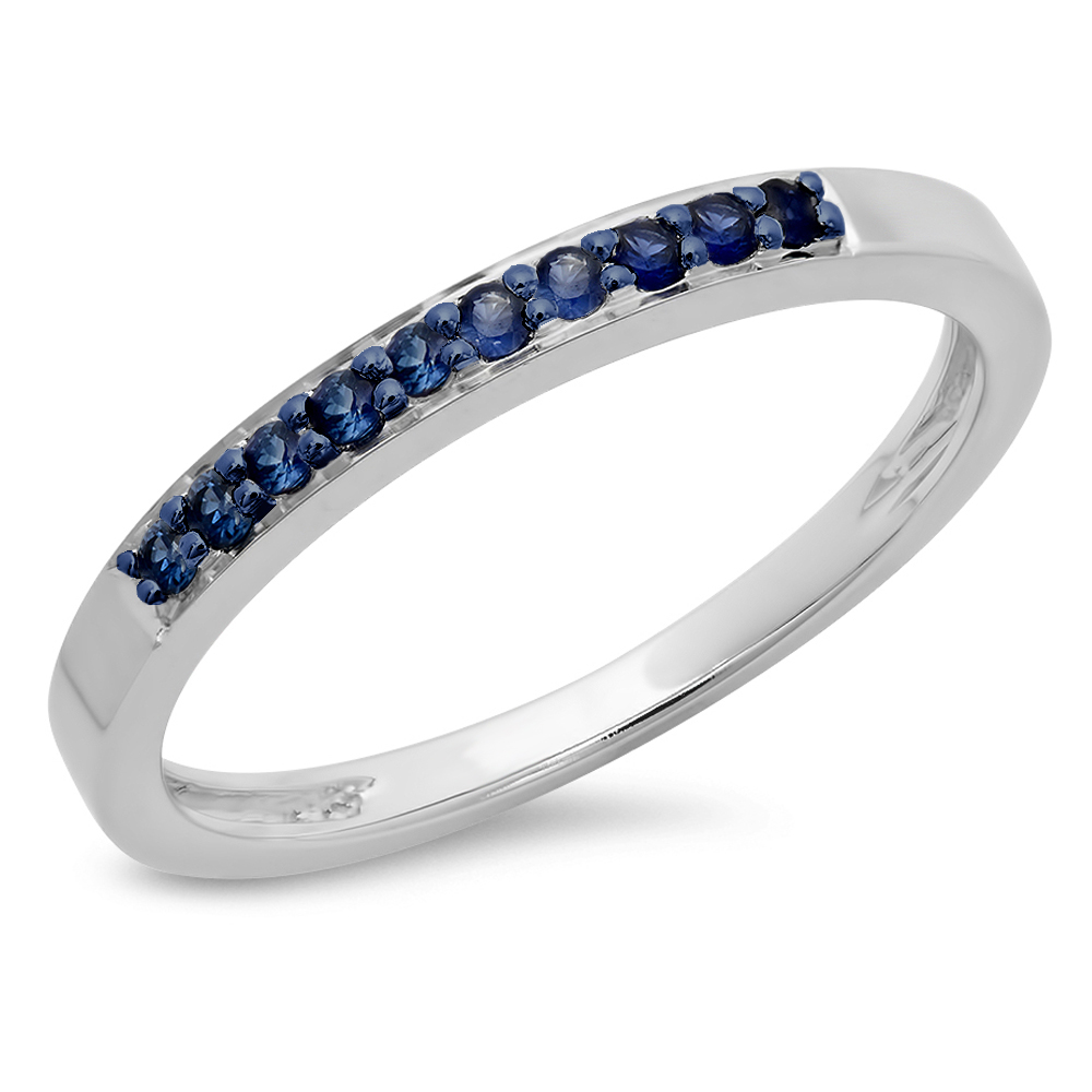 0.15 Carat (ctw) 14K White Gold Round Blue Sapphire Ladies Anniversary Wedding Band Stackable Ring