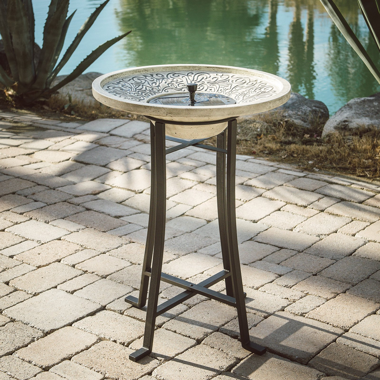 Belham Living Perello Concrete Solar Birdbath by Smart Solar by