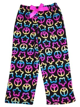 Girls Soft Plush Soft Microfiber Fleece Whimsical Print Sleep Lounge Pajama Pant, 35889 Blue Frogs / 4/5