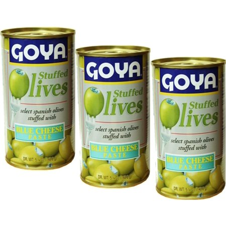 Goya Blue Cheese Stuffed Spanish Olives. 5.25 oz, Pack of 3