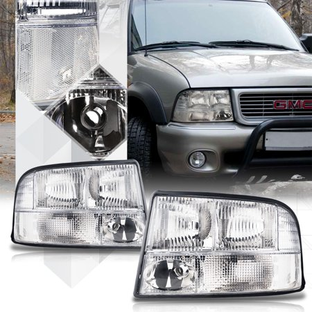Gmc S15 Jimmy Headlight (Chrome Housing Crystal Lens Headlight Lamp for 98-05 GMC Sonoma/Jimmy/Bravada 99 00 01 02 03 04)