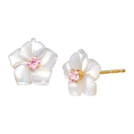 Mother-of-Pearl Flower Stud Earrings with Pink Cubic Zirconia in 14kt Gold