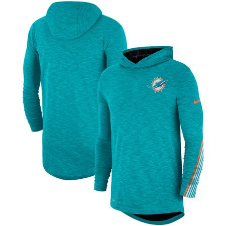 Miami Dolphins Nike Sideline Scrimmage Performance Long Sleeve Hoodie T-Shirt - Heathered Aqua Dolphins T-shirt Sweatshirt