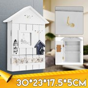 Wooden Key Box Rack Cabinet Keys Hanger Rack Security Case Shabby Chic Lighthouse Wall Mounted Holder Home Decoration 11.8 x 6.9 x 2Inch