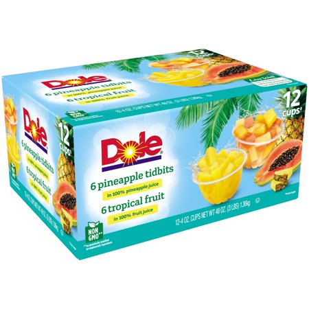 (12 Cups) Dole Fruit Bowls Tropical Fruit & Pineapple Tidbits in 100% Fruit Juice, 4 oz cups