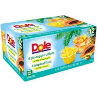 (12 Cups) Dole Fruit Bowls Tropical Fruit & Pineapple Tidbits in 100% Fruit Juice, 4 oz cups