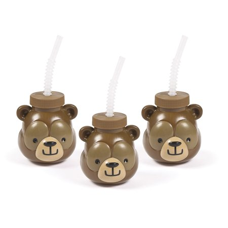 Plastic Yard Cups Wholesale (Woodland Party Bear Molded Sipper Cup)