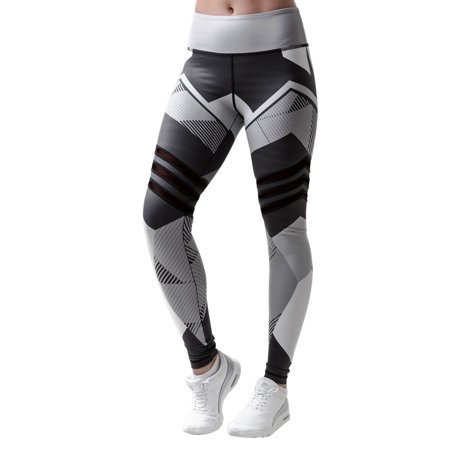 Women High Waist Yoga Pants Fitness Running Gym Stretchy Exercise Leggings Sport Trousers Geometric Long Workout Tights