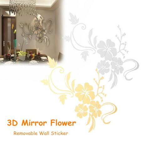 DIY Retro 3D Mirror Flower Wall Sticker Decoration Removable Floar Art Jeteven Vinyl Acrylic Mural Decal Living Home Dining Room Bedroom Kitchen Sofa Decor ,Gold Silver color](Gold Room Decor)