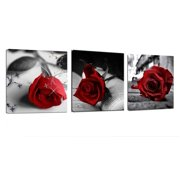 "Wendana Canvas Wall Art Red Rose Flowers on Gray Books Pictures Painting -12"" x 12"" x 3 Panels Canvas Prints Framed for Home Bathroom Bedroom Wall Decor"