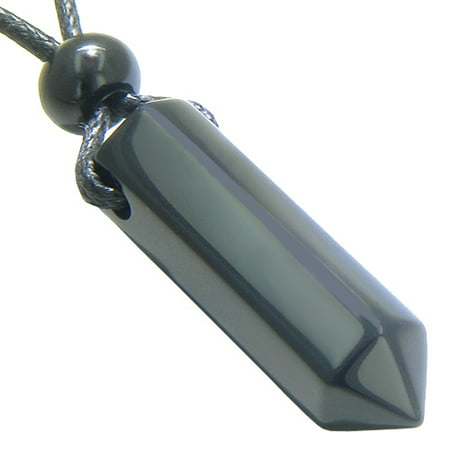 - Amulet Spiritual Protection Black Agate Crystal Point Wand Pendant Necklace