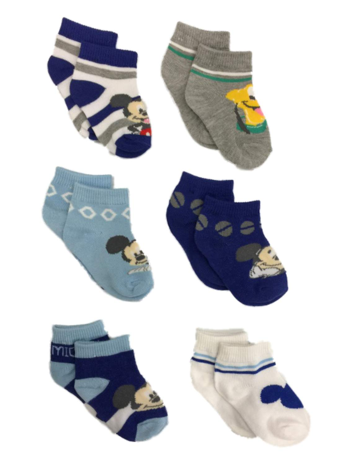Disney Baby Mickey Mouse 6 Pairs Socks Infant Boys Blue Ages 6-12 Months #21584
