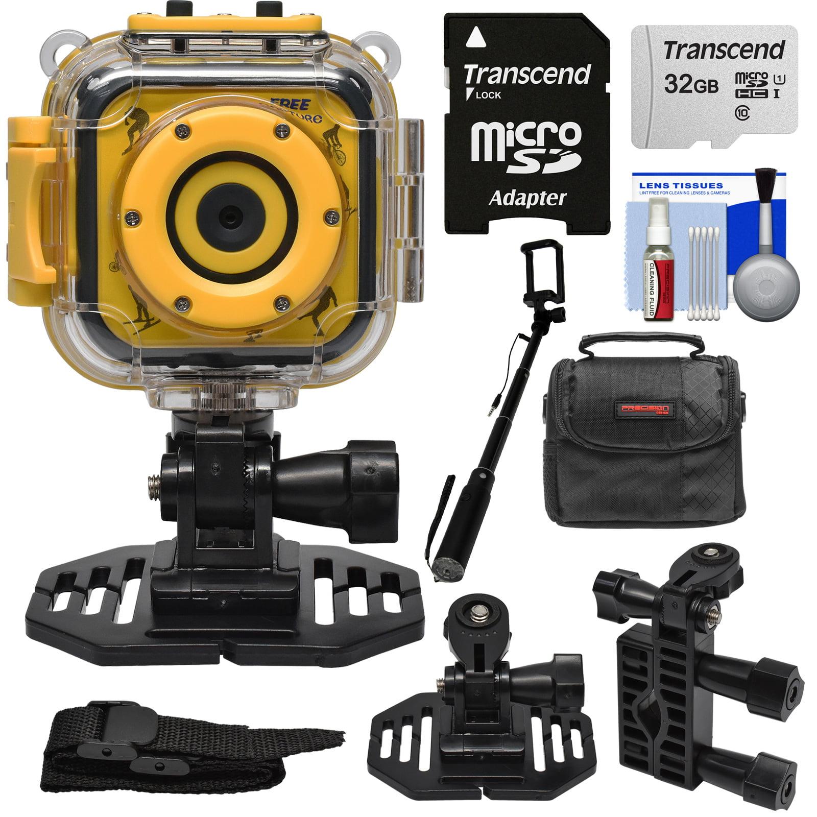 Precision Design K1 Kids HD Action Camera Camcorder (Yellow/Black) with Helmet + Handlebar Bike Mounts + 32GB Card + Case + Selfie Stick + Kit