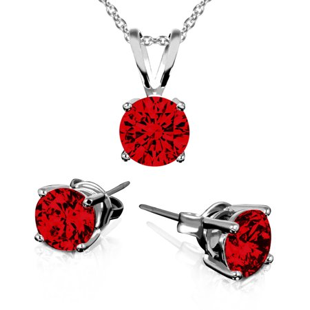 January Birthstone Earring And Necklace Set Garnet Necklace And Earring Set