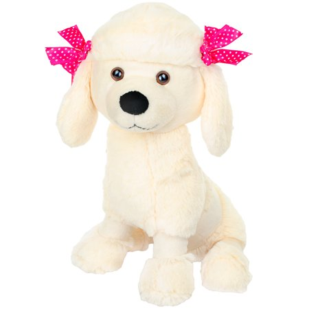 Giftable World Plush Poodle Dog With Pink Ribbons Stuffed Animal Toy 14 inch Cream Colored Dog Plush Poodle Dog