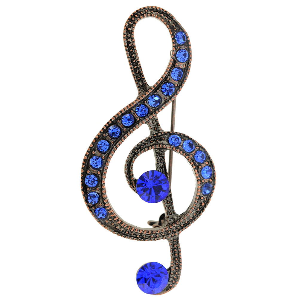 Sapphire Blue Spiral Music Note Pin Brooch by