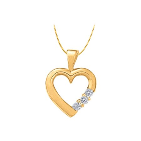 April birthstone CZ Heart Pendant in Sterling Silver with Yellow Gold Vermeil 0.06 CT TGW