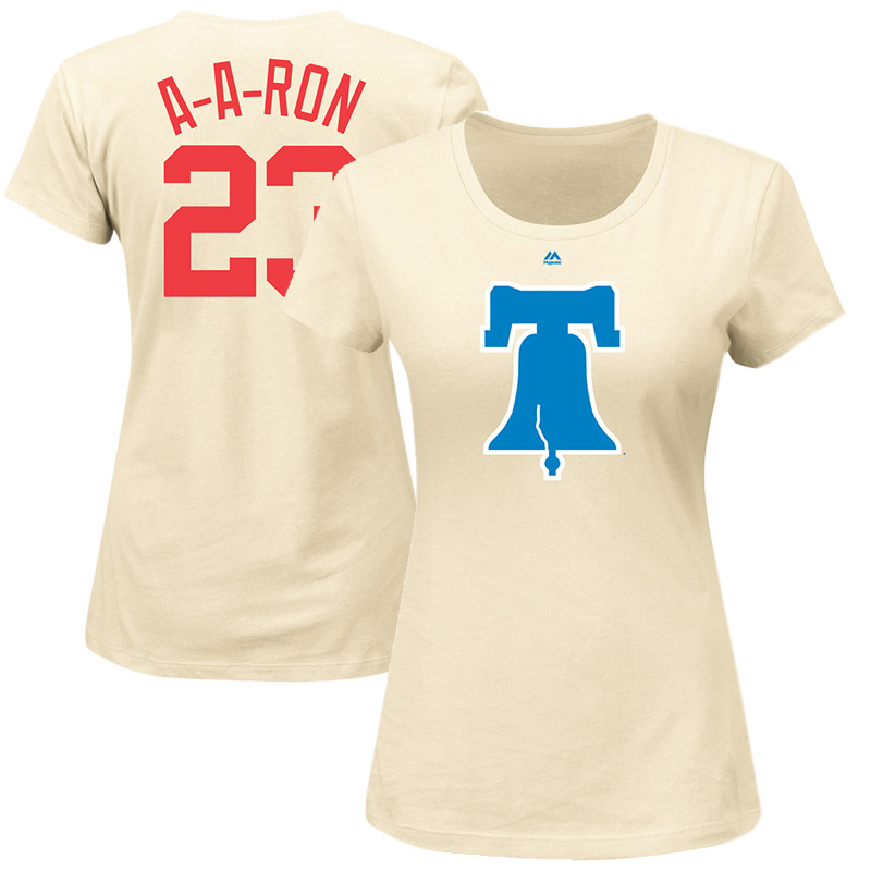 """Aaron Altherr """"A-A-Ron"""" Philadelphia Phillies Majestic Women's 2017 Players Weekend Name & Number T-Shirt - Cream"""