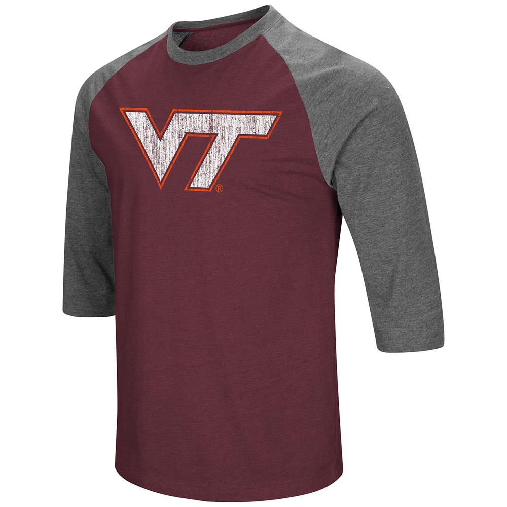 Mens Virginia Tech Hokies 3/4 Sleeve Raglan Tee Shirt - S