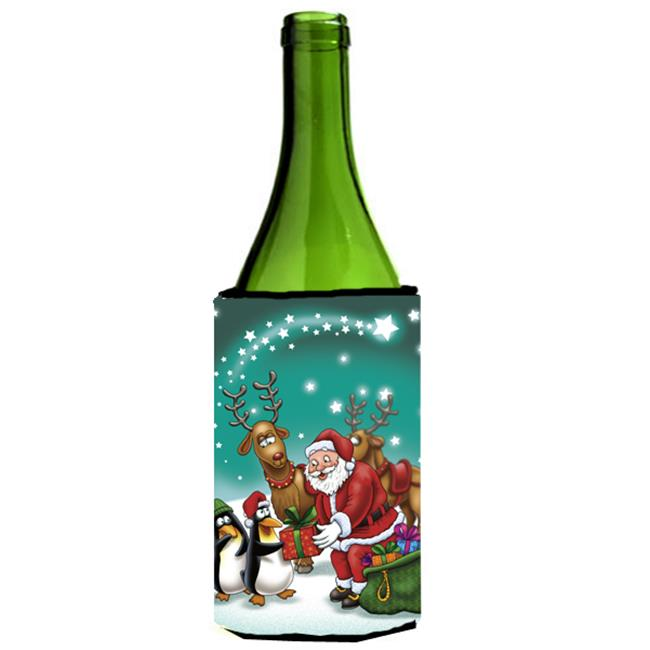 Santa Claus Christmas with the Penguins Wine Bottle Can cooler Hugger