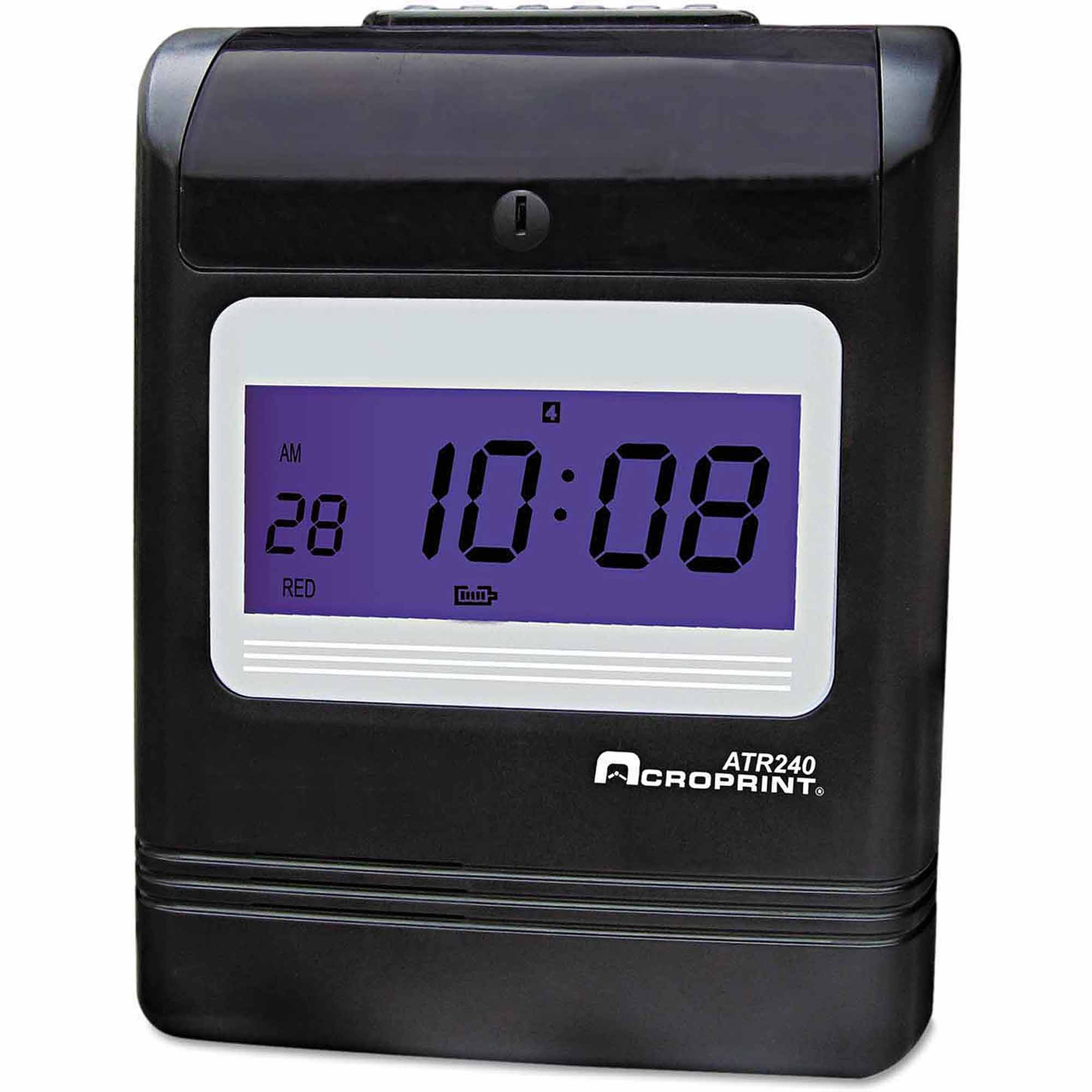 Acroprint ATR240 Top Loading Time Clock, Black Red Ink, 8 x 6 x 10, Black by ACRO PRINT TIME RECORDER