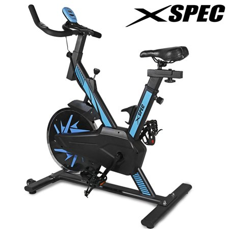 Xspec Pro Stationary Upright Blue Exercise Bike Cycling Bike 25LB Flywheel Pulse