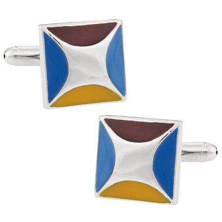 - Designer Blue, Maroon, and Yellow Enamel Cufflinks by Cuff-Daddy