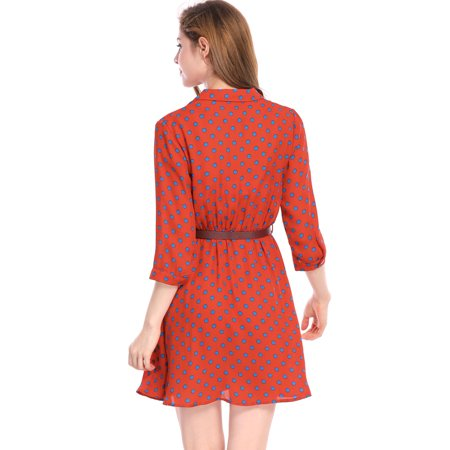 Unique Bargains Women's Belted Polka Dots 3/4 Sleeves Above Knee Shirt Dress - image 5 of 7