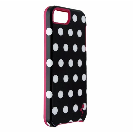 M-Edge Echo Series Case Cover for iPhone 5 5s SE - Blk Wht Polka Dot / Pink (Refurbished) (Wht Dot)