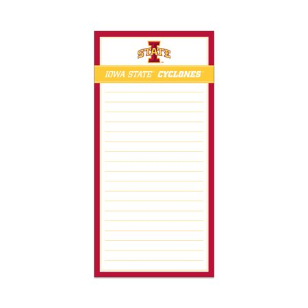 Iowa State Magnetic List Pad Ia St Cyclones Show your team support with this Iowa State Magnetic List Pad Iowa State Cyclones. You can use it to keep track of important notes and reminders. This fridge magnet list paper is ideal to keep in the kitchen to write down the items you need before grocery shopping. It features the team name and logo in the Iowa State colors.