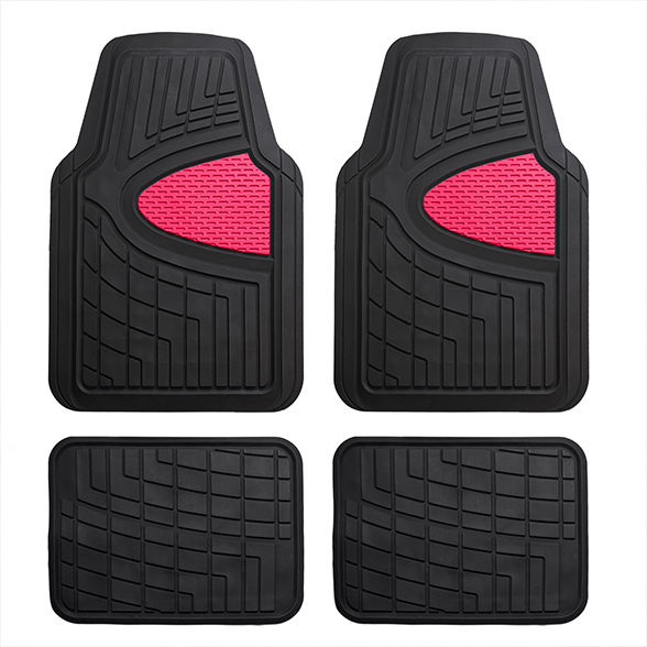 FH Group Universal Fit Heavy Duty Rubber All Weather Pink Floor Mats (4 Piece Set)