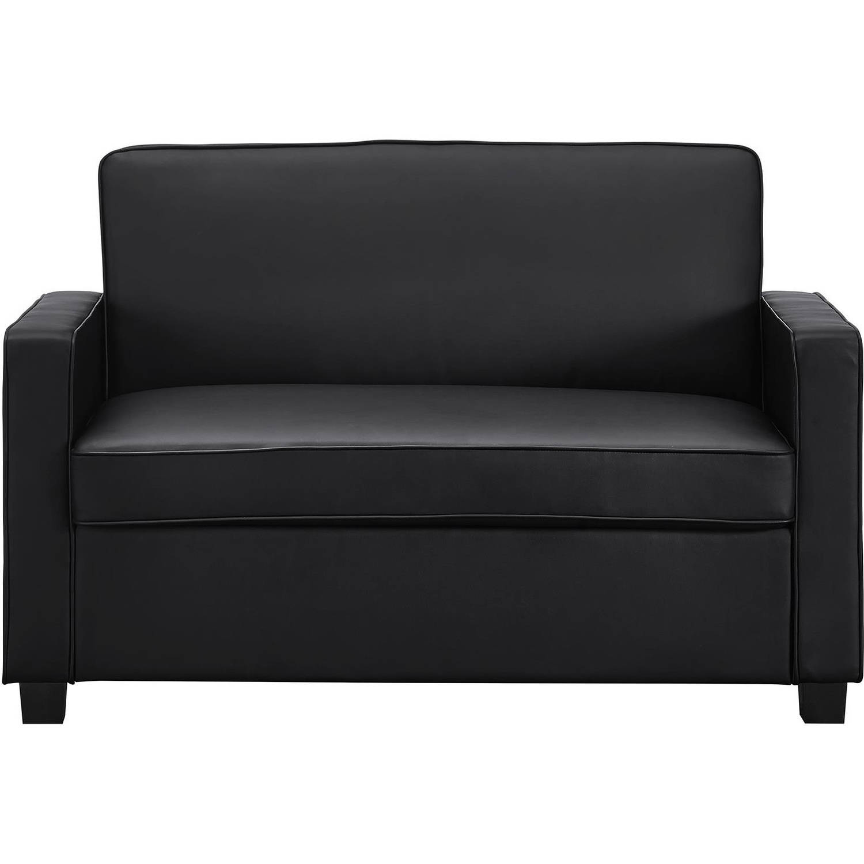 Siganture Sleep Casey 54 Sleeper Loveseat Black Faux Leather