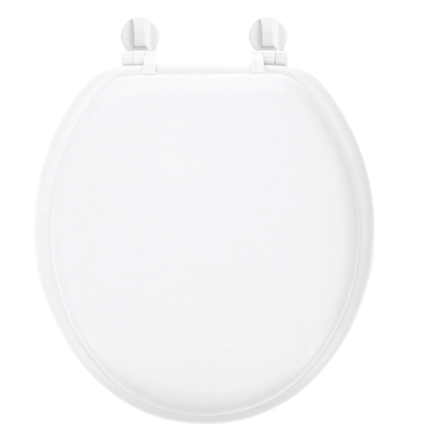 Heavy Duty Vinyl Soft Toilet Seat Black Easy Clean Round Standard Size Bathroom