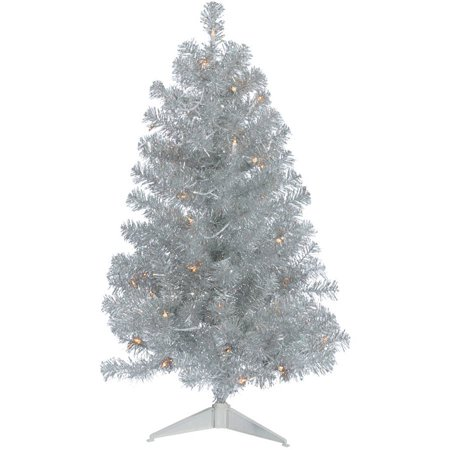 Vickerman 3' Silver Artificial Christmas Tree with 50 Clear