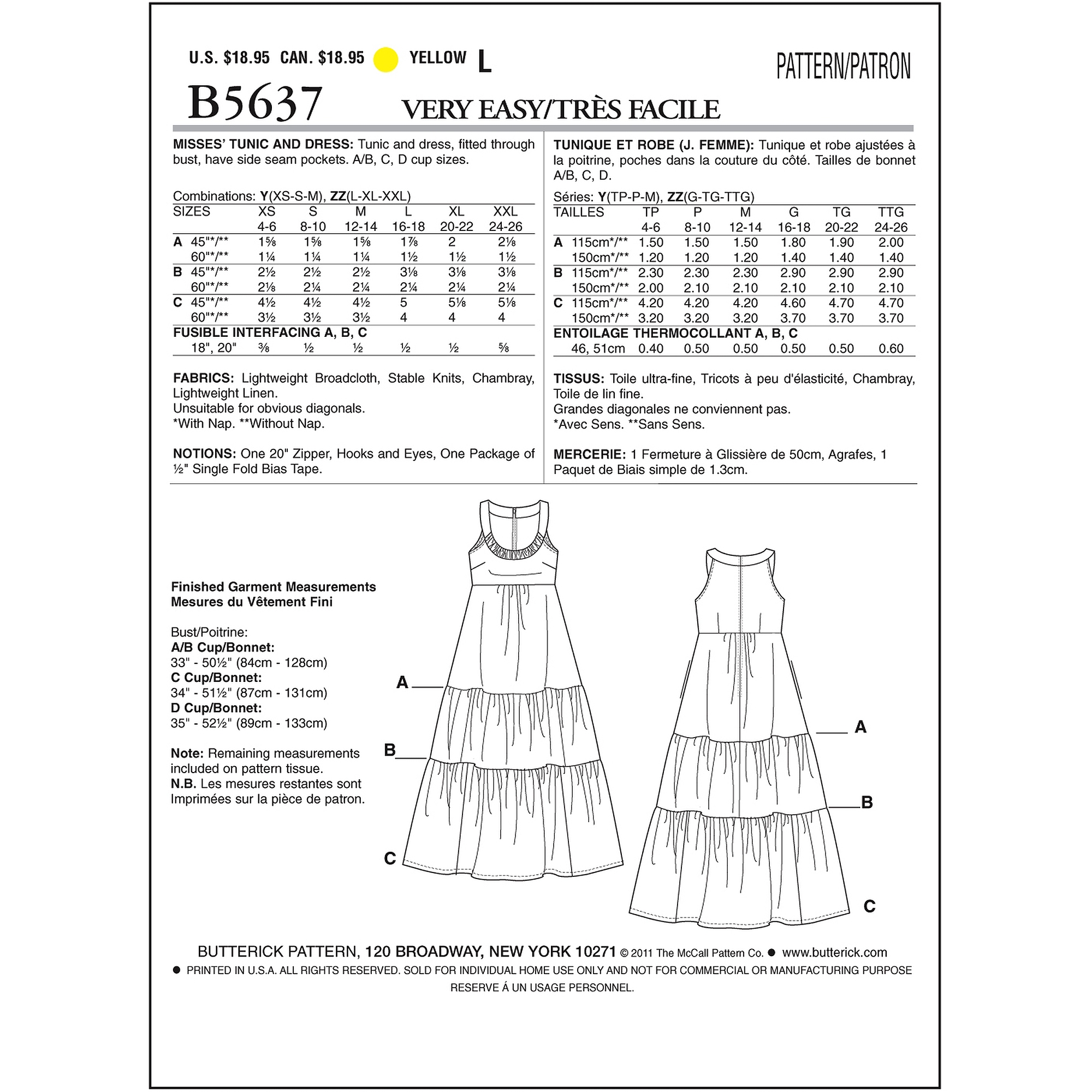 Butterick Pattern Misses' Tunic and Dress, Y (XS, S, M)