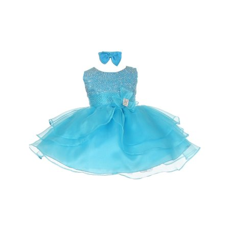 Baby Girls Turquoise Rhinestuds Bow Sash Flower Girl Headband Dress 24M](Turquoise Girls Dresses)