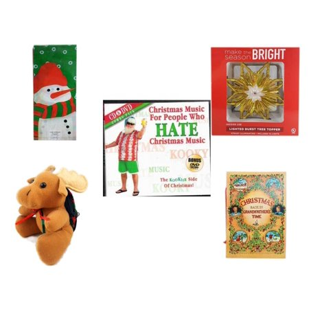 Christmas Fun Gift Bundle [5 Piece] - Assorted  Cello Bags With Ties - Deck The Halls Lighted Burst Gold Tree Topper -  Music For People Who Hate  Music CD & DVD Combo Pack -  Moose With Plaid Backp
