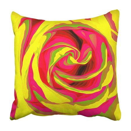 BPBOP Colorful Contemporary Red And Yellow Rose Abstract Artistic Blooming Blossom Botanical Pillowcase Cover 16x16 inch ()
